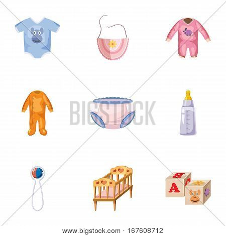 Things for baby icons set. Cartoon illustration of 9 things for baby vector icons for web