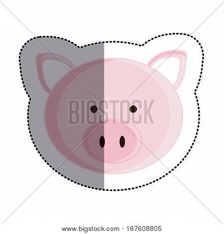 color sticker with pig head and middle shadow vector illustration