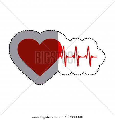 color sticker with heart and line of vital sign and middle shadow