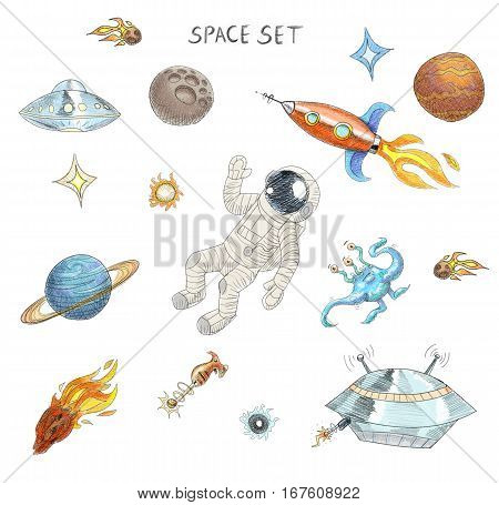 Drawing of colorful space objects: an astronaut, an alien, a ufo, a spaceship, a comet, planets and stars. Space exploration. Extraterrestrial objects. Celestial bodies.