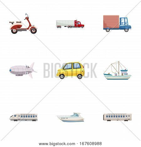 Vehicle icons set. Cartoon illustration of 9 vehicle vector icons for web