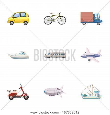 Variety of transport icons set. Cartoon illustration of 9 variety of transport vector icons for web