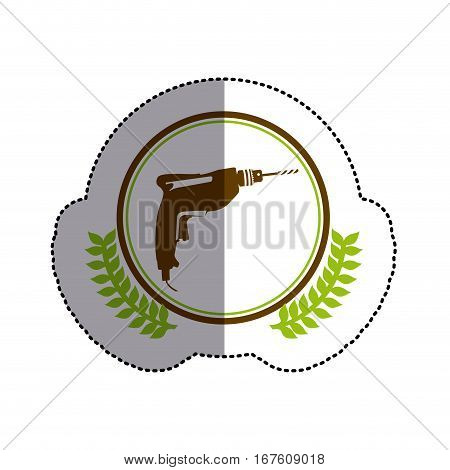 color sticker circle with drill and olive branchs and middle shadow vector illustration