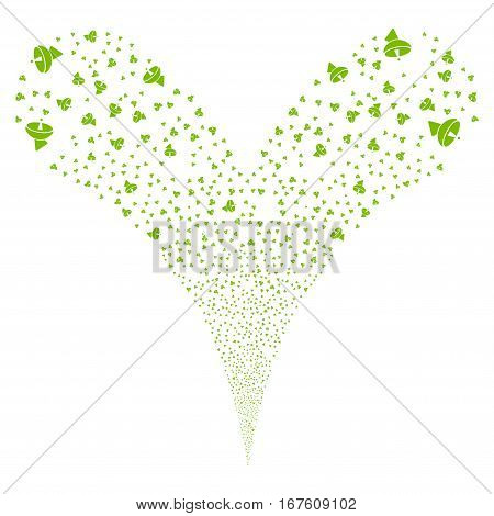 Radio Telescope fireworks stream. Vector illustration style is flat eco green iconic symbols on a white background. Object double fountain constructed from random symbols.