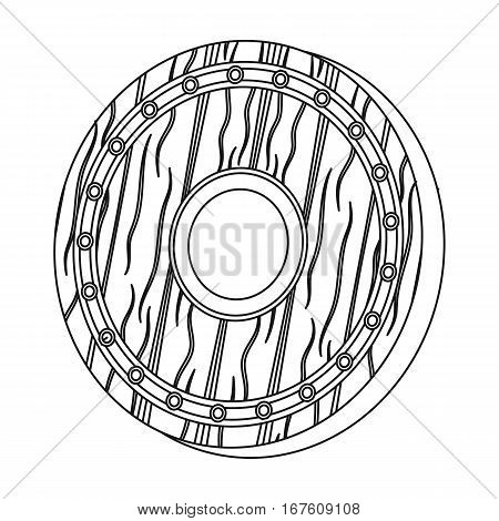 Viking shield icon in outline design isolated on white background. Vikings symbol stock vector illustration. - stock vector