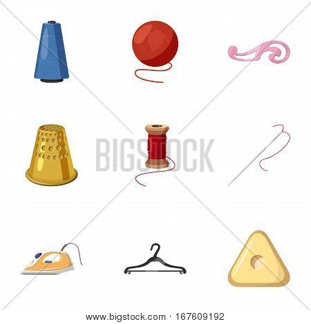 Accessories for sewing workshop icons set. Cartoon illustration of 9 accessories for sewing workshop vector icons for web