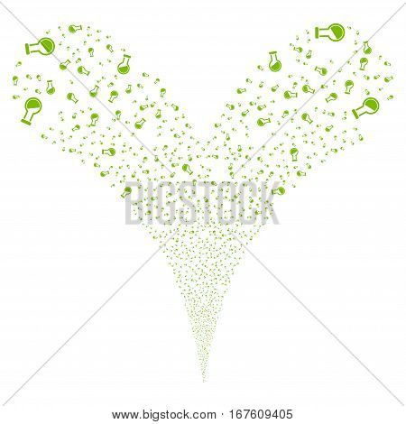 Retort fireworks stream. Vector illustration style is flat eco green iconic symbols on a white background. Object double fountain constructed from random design elements.