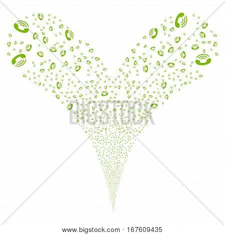 Ring fireworks stream. Vector illustration style is flat eco green iconic symbols on a white background. Object double fountain constructed from random symbols.