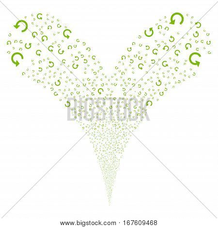 Rotate fireworks stream. Vector illustration style is flat eco green iconic symbols on a white background. Object double fountain combined from random symbols.