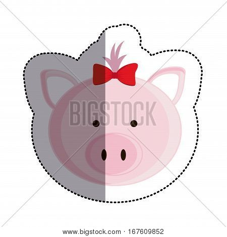 color sticker with female pig head and middle shadow vector illustration