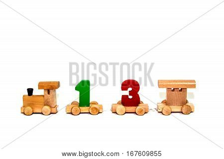 Colorful wooden toy train unlucky number isolated on white background