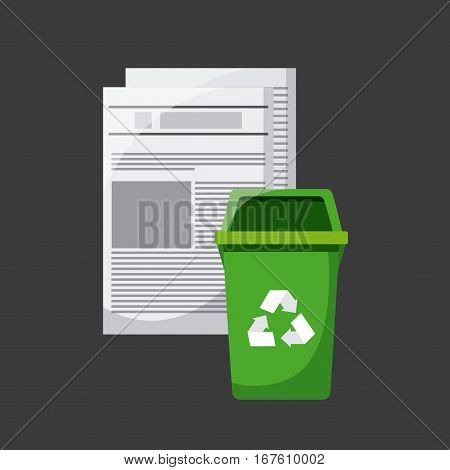 paper pages and trash bucket with recycle sign icon over white background. vector illustration