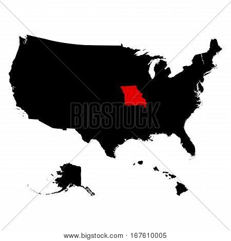 map of the U.S. state of Missouri  vector illustration