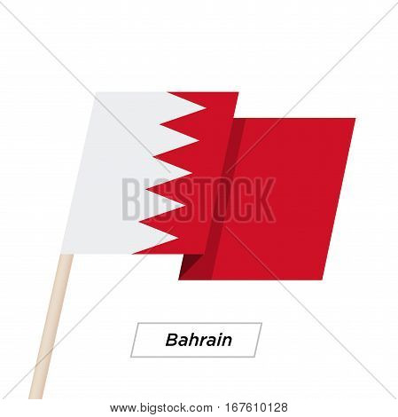 Bahrain Ribbon Waving Flag Isolated on White. Vector Illustration. Bahrain Flag with Sharp Corners