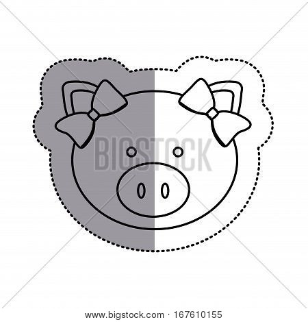 monochrome contour sticker with female pig head and middle shadow vector illustration