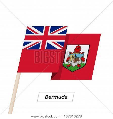 Bermuda Ribbon Waving Flag Isolated on White. Vector Illustration. Bermuda Flag with Sharp Corners