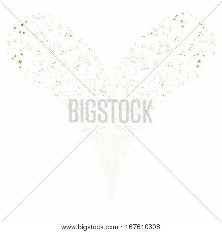 Space Stars fireworks stream. Vector illustration style is flat eco green iconic symbols on a white background. Object double fountain done from random design elements.
