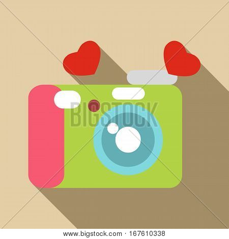 Photocamera icon. Flat illustration of photocamera vector icon for web design