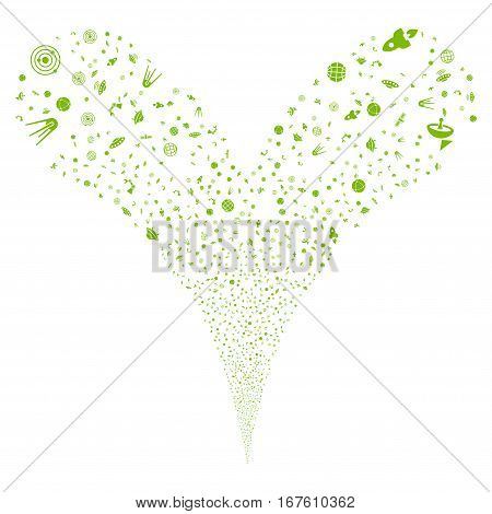 Space Technology Symbols fireworks stream. Vector illustration style is flat eco green iconic symbols on a white background. Object double fountain made from random pictographs.