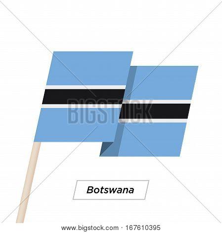 Botswana Ribbon Waving Flag Isolated on White. Vector Illustration. Botswana Flag with Sharp Corners