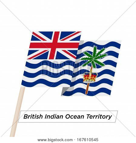 British Indian Ocean Territory Ribbon Waving Flag Isolated on White. Vector Illustration. British Indian Ocean Territory Flag with Sharp Corners