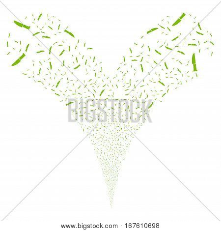 Surgery Knife fireworks stream. Vector illustration style is flat eco green iconic symbols on a white background. Object double fountain created from random pictographs.