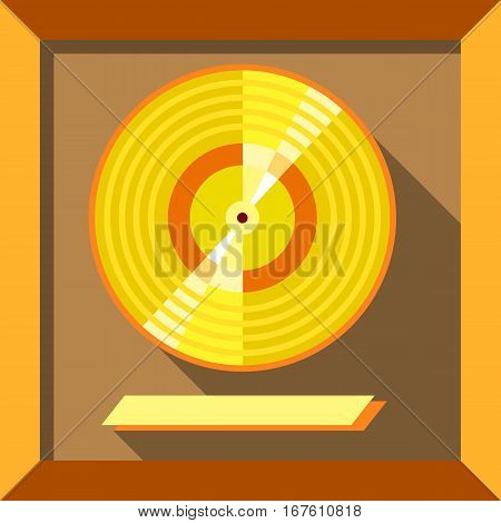 Gold record music disc icon. Flat illustration of gold record music disc vector icon for web design