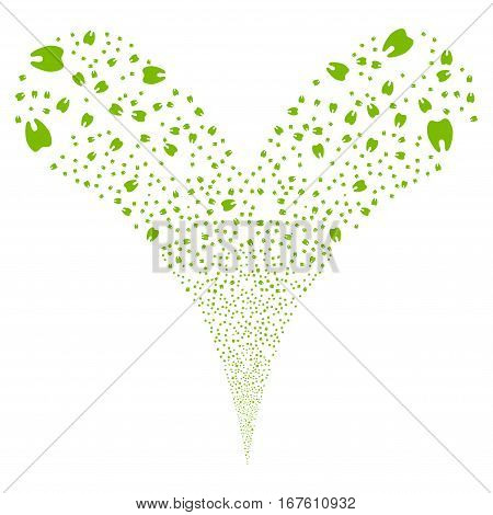 Tooth fireworks stream. Vector illustration style is flat eco green iconic symbols on a white background. Object double fountain combined from random symbols.