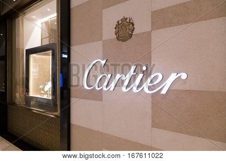 Kuala Lumpur, Malaysia -  January 29, 2017: Cartier, Upmarket Retailer Specializing In Fine Jewelry,