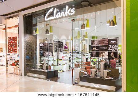 Kuala Lumpur, Malaysia -  January 29, 2017: Clarks, Is A British-based, International Shoe Manufactu