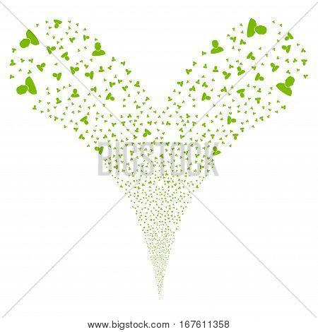 User fireworks stream. Vector illustration style is flat eco green iconic symbols on a white background. Object double fountain made from random pictograms.