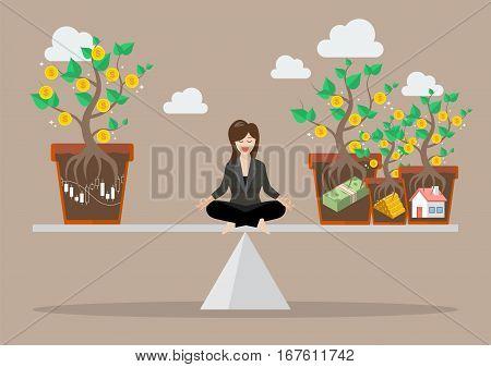 Business woman rebalancing portfolio asset allocation. Business concept