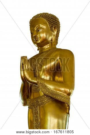 Buddha with hands clasped isolated on white background