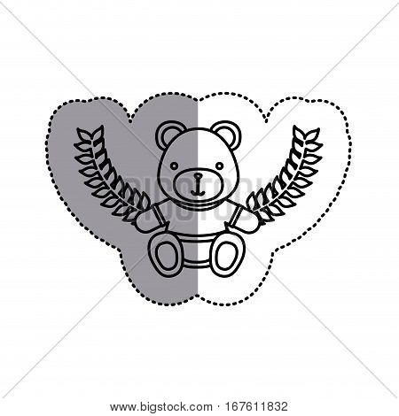 monochrome contour sticker circle with teddy bear with t-shirt and olive branches and middle shadow vector illustration