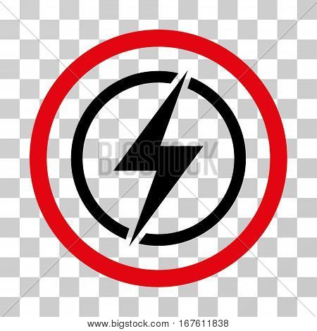 Electrical Hazard rounded icon. Vector illustration style is flat iconic bicolor symbol inside a circle intensive red and black colors transparent background.