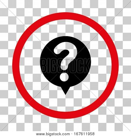 Status Query rounded icon. Vector illustration style is flat iconic bicolor symbol inside a circle intensive red and black colors transparent background. Designed for web and software interfaces.