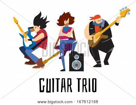 Guitar trio, rock band, music group with young musicians concept of artistic people vector illustration. Guitar trio isolated characters performing. Rock star concept in flat design.