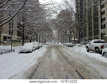 Chicago Dearborn Street Scene During a Winter Snowstorm