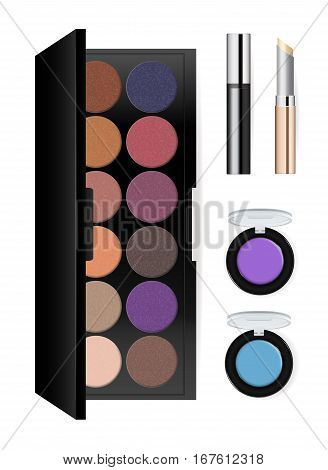 Realistic makeup cosmetics set isolated on white background vector illustration. Lipstick, facepowder, mascara, eye shadow, foundation. Decorative facial cosmetics products, beauty fashion makeup. Cosmetics product concept design