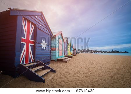 Brighton Beach Bathing Boxes, Melbourne. Brighton Beach Located In The South Of Melbourne. Bathing B