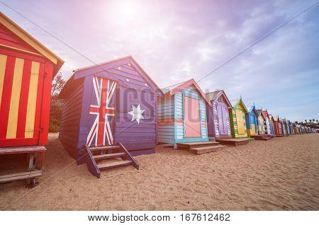 Brighton Beach Bathing Boxes, Melbourne. Brighton Beach Located In The South Of Melbourne. Bathing B