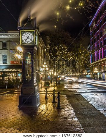 Vancouver, Canada - January 14, 2017. Gastown, Water Street