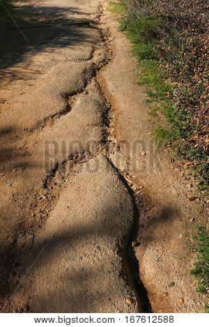 Erosion on public footpath after heavy rain