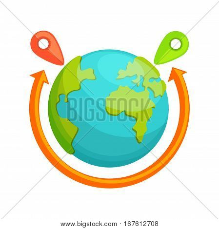 Delivery around the world concept. Globe With Red Arrow Rotating. Destination transportation service. Company Symbol Of Worldwide Coverage. Shipping all over the earth.