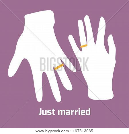 Flat style hands of just married couple. Rings on ring fingers