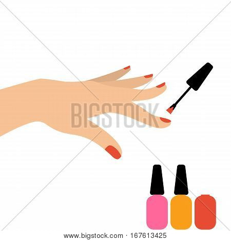 Beautiful hand of female painting nails in salon. Nail care concept
