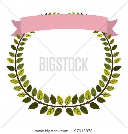 border of leaves with pink label vector illustration