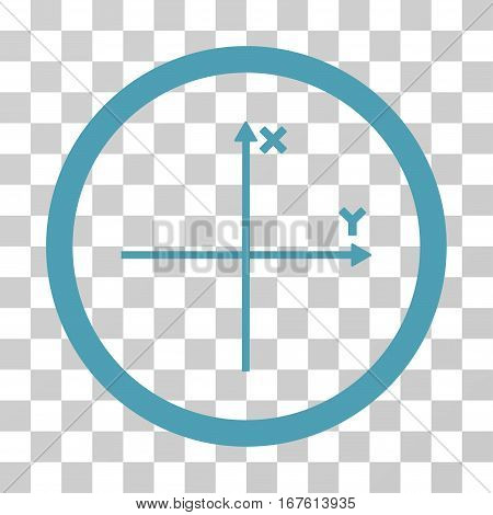 Coordinate Axis rounded icon. Vector illustration style is flat iconic bicolor symbol inside a circle cyan and blue colors transparent background. Designed for web and software interfaces.