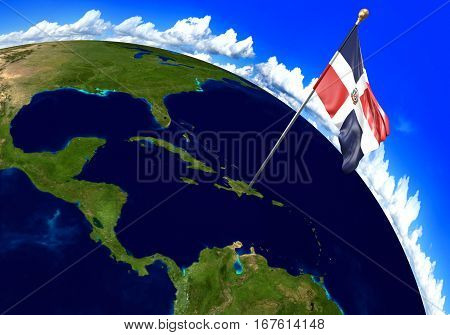 Dominican Republic national flag marking the country location on world map. 3D rendering, parts of this image furnished by NASA