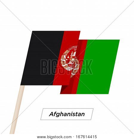 Afghanistan Ribbon Waving Flag Isolated on White. Vector Illustration. Afghanistan Flag with Sharp Corners